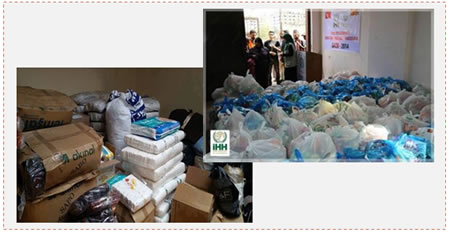 Left: Donations from Hungary sent to Judea and Samaria and from there delivered to the Gaza Strip. Right: Donations for the Gaza Strip from the Turkish IHH (Palestine-info.info, September 16, 2014).