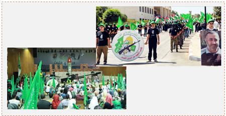 Left: The rally where a sniper rifle and an R-160 rocket (of the type launched during Operation Protective Edge) were displayed. Right: Members of the Islamic Bloc hold Hamas-affiliated flags and an Izz al-Din al-Qassam Brigades insignia (Facebook page of the Islamic Bloc at Bir Zeit University, September 17, 2014).