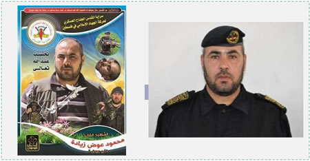 Left: Death notice of PIJ senior commander Mahmoud Awad Ali Ziadeh (website of the Center for Languages and Translations, September 11, 2014). Right: Mahmoud Awad Ali Ziadeh (Abu Awad), battalion commander in the PIJ's northern Gaza Strip brigade (saraya.ps). Mahmoud Awad Ali Ziadeh is one of several senior military commanders of the PIJ killed in Operation Protective Edge.