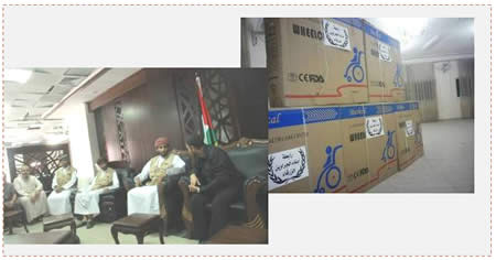 Left: The Omani delegation that entered the Gaza Strip through the Rafah crossing. Right: Medical aid from Jordan (Palestine-info.info, October 2 and 3, 2014)