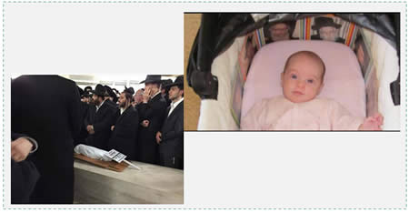 Left: The funeral held for the infant (Mivzaklive.co.il, October 22, 2014). Right: The infant Chaya Zissel Braun (Photo courtesy of the family).