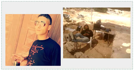 "Left: A picture from his Facebook page; his T-shirt reads ""We are all Gaza."" Right: A picture uploaded to his Facebook page on October 2, 2014 taken at an archaeological dig in Jerusalem."