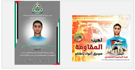 "Other postings on the Hamas forum. Left: Hamas death notice reading ""The Islamic resistance movement mourns the death of its son, the shaheed, the hero Abd al-Rahman Idris al-Shaloudi, 23, who carried out the daring action in Jerusalem and ran over nine settlers in the Sheikh Jarrah neighborhood. That is [the essence of] jihad...victory or becoming a shaheed "" (PALDF, October 23, 2014)"