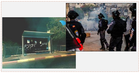 "Left: ""Death to the Zionists,"" graffiti sprayed on a bus shelter on French Hill in Jerusalem (Tazpit.org.il, October 30, 2014). Right: Israeli security forces deployed in Jerusalem (Facebook page of the Israel Police Force, November 2, 2014)."