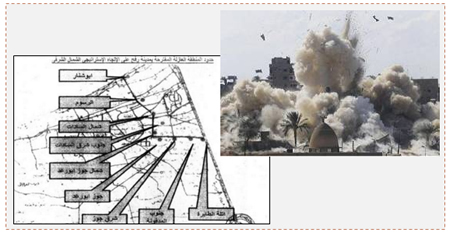 Left: A map of the Rafah buffer zone authorized by the Egyptian prime minister (Almasryalyoum.com, October 29, 2014). Right: Egypt blows up buildings in Egyptian Rafah (Palestine-info.info, October 29, 2014).