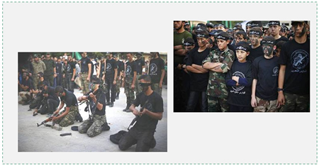 Left: Teenagers in military uniform holding rifles. The photos serve as an indication of the large number of teenagers (Paldf, November 7, 2014). Right: Teenagers and children in military uniform in a parade.