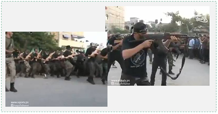 Military exercises presented by the soldiers of the Popular Army at the ceremony marking the end of the training of the first battalion (Al-Aqsa TV, November 7, 2014)