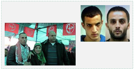 Left: Jamal Abu Jaml (left) on his release from prison in Israel. There are PFLP flags hung in the background (Panet.co.il, January 4, 2014). Right: The two terrorists Ghassan and Uday Abu Jaml, who carried out the mass-murder attack at the synagogue (Facebook page of QudsN, November 18, 2014)