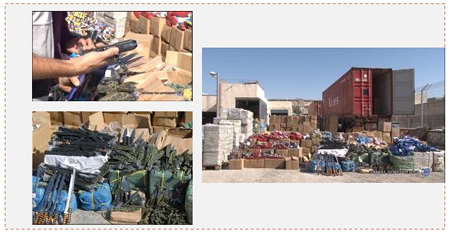 The containers and some of the cold weapons seized (Israel Police Force spokesperson, November 20, 2014).