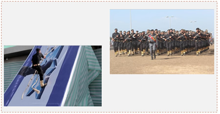 Left: A course graduate climbs up an Israeli flag. Right: Graduates on parade during the exercises (Website of the ministry of the interior in the Gaza Strip, December 4, 2014).