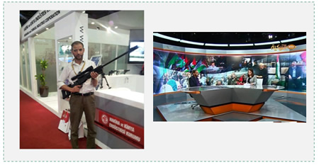 Left: Senior Hamas operative Hussam Badran, released in the Gilad Shalit exchange deal, who directed a Hamas terrorist network in the Hebron region, photographed in Turkey holding what is apparently a long-range sniper rifle (Hamas forum, October 19, 2012). Right: Hussam Badran interviewed by the Turkish TV TRT channel (Facebook page of Hussam Badran, June 7, 2014).
