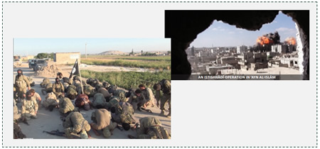 The Kobani clashes: Left: ISIS operatives near the city of Kobani. Right: an explosion in the city as a result of a suicide bombing attack (Dabiq, Issue 5, November 2014).