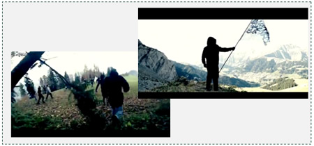 Pictures from the video: Left: Muslim masses emerging from the forest Right: the flag of Islam waving on one of the peaks of the Swiss Alps (YouTube)