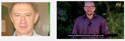 Left: South African hostage Pierre Corky, who was killed in the rescue attempt (www.echoroukonline.com) Right: Luke Somers in the video distributed by Al-Qaeda in the Arabian Peninsula