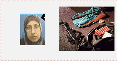 Left: The suicide bomber, Yasmin Sha'aban. Right: The weapons found in the possession of the terrorist squad (Shabak.gov.il, December 15, 2014).