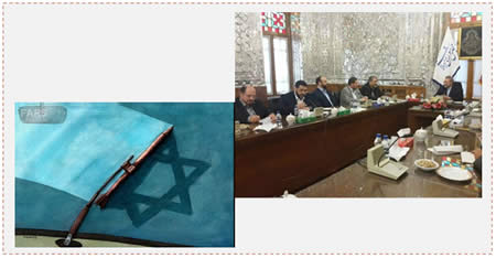 A Hamas delegation visits Iran. Left: Cartoon issued by Iran's Fars News Agency shows how Iranian rockets wipe off Israel (Farsnews.com, December 2, 2014). Right: The delegation meets with Ali Larijani, chairman of the Shura Council (Alresala.net, December 11, 2014).