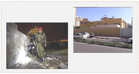 Left: Hamas security forces examine the circumstances of the explosion (Watan TV, December 13, 2014). Right: The French Cultural Center in Gaza City (Maannews.net, December 13, 2014).