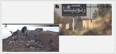 Left: Documentation of the destruction in al-Masmaka (video distributed by ISIS on Islamic forums, December 10, 2014) Right: Arrival at the walls of the military airfield in Deir al-Zor.