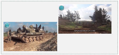Videos distributed on YouTube by the Al-Nusra Front about the takeover of Wadi al-Deif. Left: captured Syrian Army tank (YouTube, December 15, 2014) Right: armored vehicle belonging to the Al-Nusra Front near a Syrian Army headquarters building