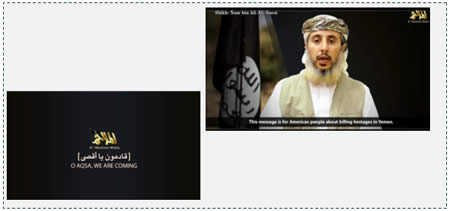"Left: The video ended with the subtitle: ""Al-Aqsa, we are coming [to you]"". Right: A spokesman for AQAP addresses the American public under English subtitles."