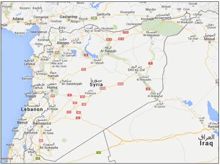 Syria page 36 of 44 the meir amit intelligence and terrorism map of syria google earth website gumiabroncs Gallery
