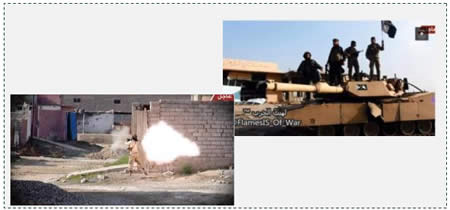 Left: Fighting in Baiji (from a Twitter account associated with ISIS, December 21, 2014)  Right: ISIS Operatives on an Iraqi tank in Baiji (YouTube, December 18, 2014).