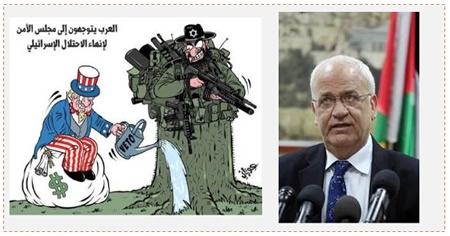"Left: The PA's appeal to the UN. The Arabic reads, ""The Arabs go to the Security Council to end the Israeli occupation"" (Fatah Media, December 24, 2014). Right: Saeb Erekat holds a press conference in Ramallah to discuss the Palestinian appeal to the UN Security Council (Wafa.ps, December 24, 2014)."