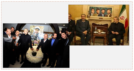 Left: Ali Larijani brings a wreath to the grave of Imad Mughnieh in Beirut. Right: Ali Larijani meets with PIJ secretary general Ramadan Shallah in Beirut (Al-A'hed website, December 23, 2014).