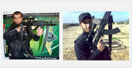 Bishari Ziad Ahmad (left) and Hassan Mohammad al-Hindi (right), two operatives of the Hamas naval commando,  killed in Israeli territory in a battle with IDF forces after landing in the area of Zikim.