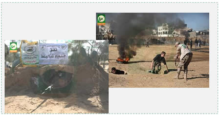 "Left: A young Gazan boy practices shooting from the so-called ""Gilad Shalit tunnel"" (Facebook page of Hamas' Pioneers of Liberation camps, January 24, 2015). Right: Operatives practice exiting a tunnel (Facebook page of PALINFO, January 21, 2015)."