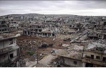 The ruins of the city of Kobanî (Ayn al-Arab) after about four months of fighting (Ayn al-Arab Twitter account, February 2, 2015).