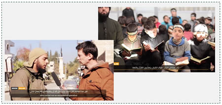 Left: French-speaking ISIS operative being interviewed by Cantlie. The operative called on Muslims in France to take action against those who harm their religion and praised Mohamed Merah, who carried out the shooting attack in Toulouse, which killed four Jews (shabakataljahad.net, March 19, 2012)  Right: Children studying the Quran, the next generation of jihad fighters (shabakataljahad.net)