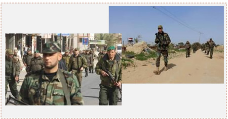 Left: Military show of force in the northern Gaza Strip held by the First Battalion of the national security forces (Website of the Palestinian ministry of the interior in the Gaza Strip, February 10, 2015). Right: Operatives of the national security forces march near the Egyptian border in the Rafah region. In the background at the left is an Egyptian army guard post (Paltimes.net, February 10, 2015).