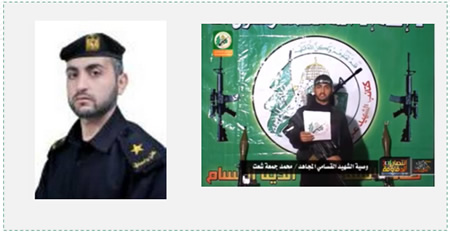 Left: Mohammad Jumaa Ahmad Shaath as an officer in one of Hamas's security apparatus in Gaza (moidev.moi.gov.ps) Right: Mohammad Jumaa Ahmad Shaath, Izz al-Din al-Qassam Brigades operative, killed in Operation Protective Edge (facebook.com). A Hamas official recently admitted (in an interview with Associated Press) that Hamas lost 400 operatives in the operation. In the ITIC's assessment, this is a minimalistic figure. According to an Israeli security source, approximately 590 Hamas operatives were killed in Operation Protective Edge, constituting nearly 67% of the terrorist operatives who were killed.