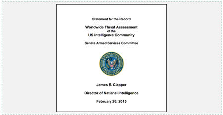 Worldwide Threat Assessment of the US Intelligence Community for 2015: Iran and Hezbollah are not mentioned in the list of terrorist threats.