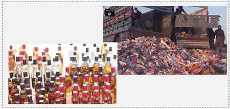 Left: Seizing bottles of alcohol. Right: Collecting cigarette packs (ISIS video, March 12, 2015)