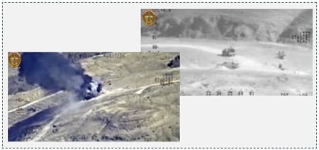 Left: An ISIS vehicle which was attacked from the air. Right: Another ISIS vehicle before it was attacked from the air in the area of Samarra (Iraqi Defense Ministry website, March 22, 2015)
