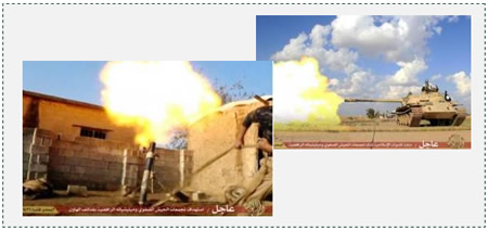 Photo from the fighting in the Salah al-Din province. Left: ISIS mortar fire. Right: ISIS tank fire (justpaste.it, March 23, 2015)