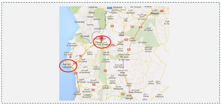 Right: The city of Jisr al-Shughur, located near the road to Latakia (left), a stronghold of the Syrian regime (Google Maps)