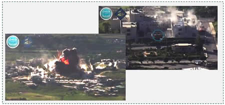 Left: A truck exploding in front of the National Hospital building (YouTube, May 1, 2015; Al-Nusra Front-affiliated Twitter account, May 2, 2015). Right: Al-Nusra Front truck bomb (circled in blue) in front of the National Hospital in Jisr al-Shughur, moments before the explosion.
