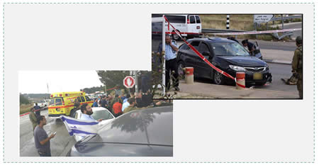 Left: The scene of the vehicular attack at the Alon Shvut junction in Gush Etzion (ZAKA spokesman, May 14, 2015). Right: The car used in the vehicular attack (Facebook page of PALDF, May 14, 2015).
