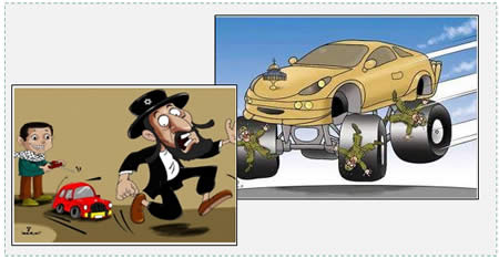 "Left: A cartoon by Hamas-affiliated Omaya Joha captioned ""The weapon of terror"" (PALDF forum, November 11, 2014). Right: Cartoon from the Hamas Facebook page encouraging vehicular attacks against IDF soldiers (Facebook page of PALDF, April 26, 2015)."