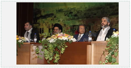 "Majed al-Zeer (left) at a Damascus congress on the ""right of return"" (November 2008). Sitting next to him (left to right) are the Iranian representative Ali Akbar Mohtashami-Pour (who played a major role in establishing Hezbollah in Lebanon), Mahathir Mohamad (former president of Malaysia who was known for his anti-Semitic rhetoric) and Hamas leader Khaled Mash'al (photo: hurryupharry.org)"