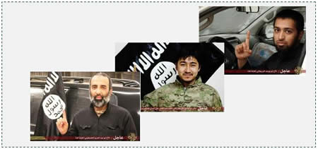 Three of the seven suicide bombers: Left: Abu Abdul Aziz the Palestinian. Center: Abu Siddiq the Turkmen (Uighur). Right: Abu Yusuf the Briton (Ilaf, June 15, 2015).