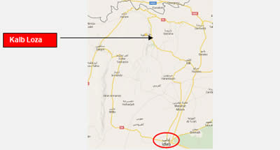 The city of Idlib and the village of Kalb Loza to its north
