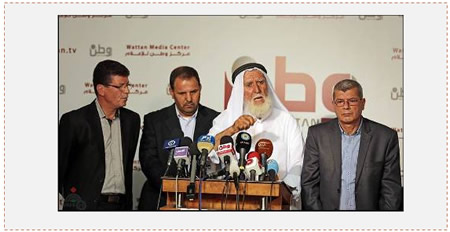 Press conference held in Ramallah in support of Khader Adnan, with the participation of (left to right) Qadoura Fares, chairman of the Palestinian prisoner's club; Ahmed al-Auri, PIJ spokesman in Judea and Samaria; Khader Adnan's father; and Issa Qaraqa, head of prisoners' and released prisoners' affairs in the PA (Wafa News Agency, June 22, 2015).
