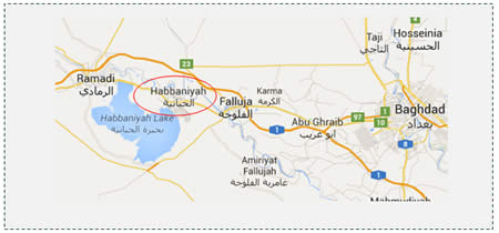The city of Habbaniyah, controlled by the Iraqi Army. It is located between the cities of Fallujah and Ramadi, which are both controlled by ISIS (Google Maps).