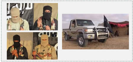 Photos from the video of ISIS's branch in the Sinai Peninsula. Left: ISIS operatives who speak in the video. Right: A tent next to a vehicle flying an ISIS flag (YouTube, June 18, 2015)