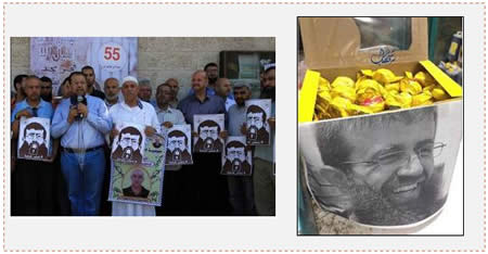 "Left: Relatives of Palestinian terrorist operatives imprisoned in Israel use their weekly rally in front of Red Cross headquarters in Gaza to mark Khader Adnan's ""victory"" (Paltoday, June 29, 2015). Right: Candies and cookies distributed from a box with a picture of Khader Adnan (Facebook page of PALDF, June 29, 2015)."