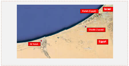 The area between Rafah and El-Arish in the northern Sinai Peninsula, the main arena for the Supporters of Jerusalem attacks on the Egyptian security forces (Wikimapia)